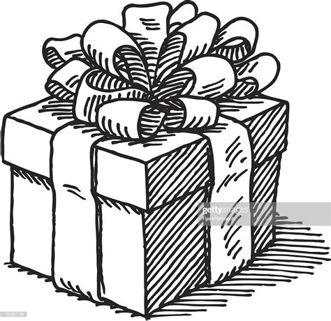 gift box drawing vector art getty images
