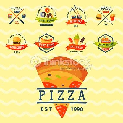 Logo De Dibujos Animados Coloridos Comida Rápida Etiqueta Aislados