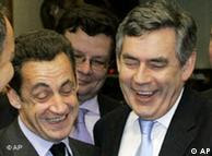 Sarkozy shares a laugh with Brown during an EU summit in Brussels on Dec. 14, 2007