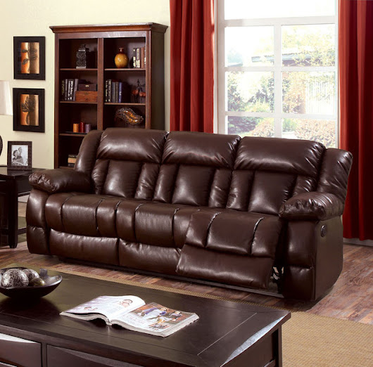 Wimbledon Reclining Sofa in Brown by Furniture of America