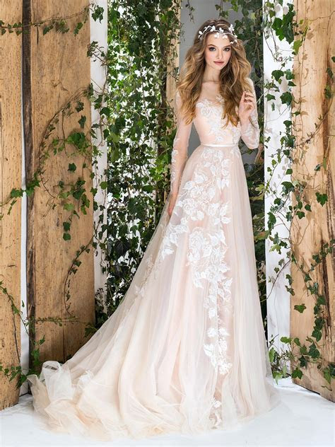 Papilio Long sleeve A line wedding dress with floral lace