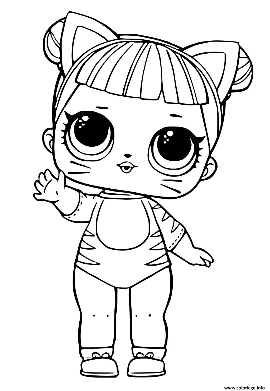 Coloriage Lol Doll Tiger Cat Cute Jecoloriecom