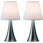 All The Rages LT2014-WHT-2PK Two Pack Mini Touch Table Lamp Set with White Shades