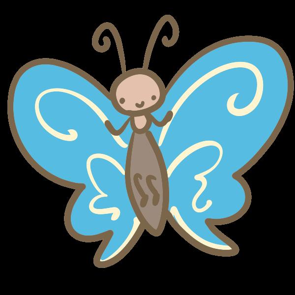 蝶 水色 のイラスト かわいいフリー素材が無料のイラストレイン