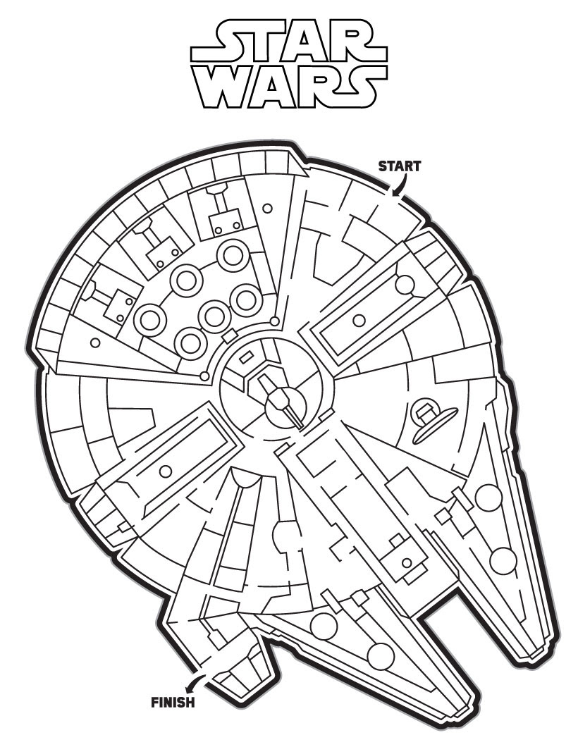 Rey The Force Awakens Millennium Falcon Maze printable worksheet