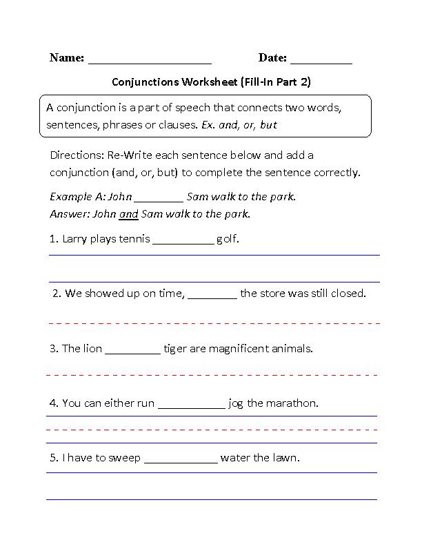 Englishlinx Com Conjunctions Worksheets