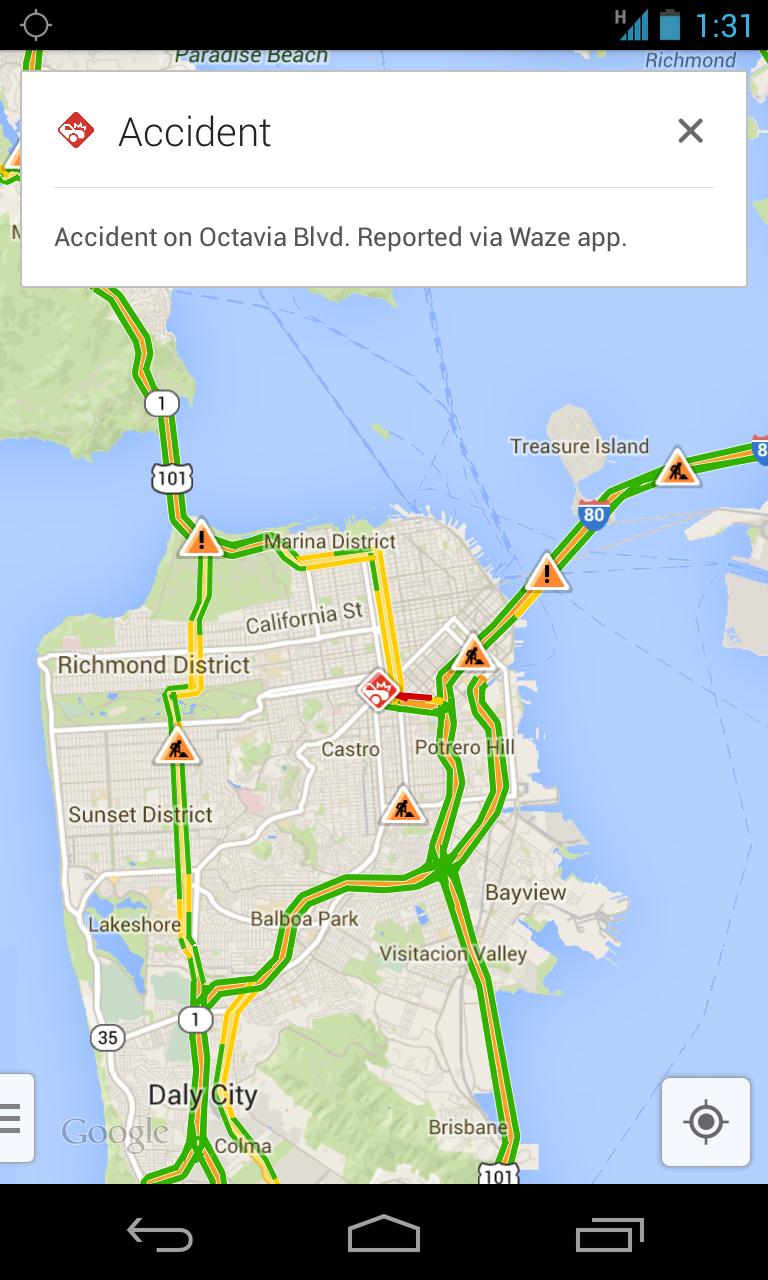 Google Maps Integrating Waze Alerts