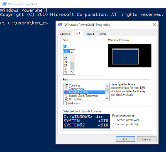 Command Prompt & PowerShell Presentation Settings