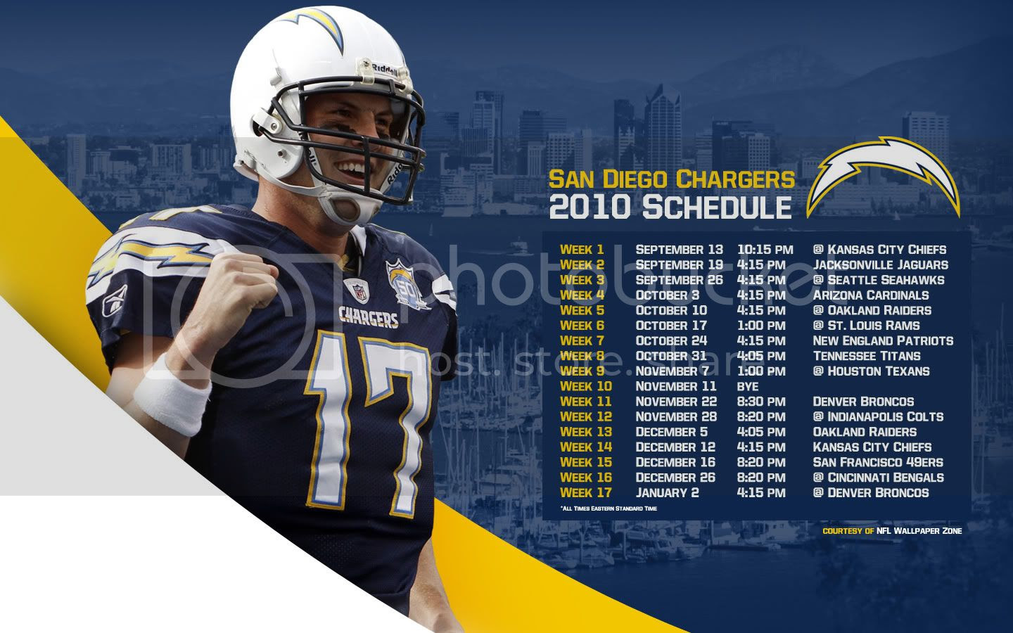 Nfl Wallpaper Zone San Diego Chargers 2010 Schedule Wallpaper