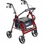 drive Duet 4-Wheel Rollator / Transport Chair, Burgundy; Each