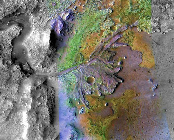 A false-color image of Jezero Crater, the future landing site for the Mars 2020 rover, as seen by NASA's Mars Reconnaissance Orbiter.