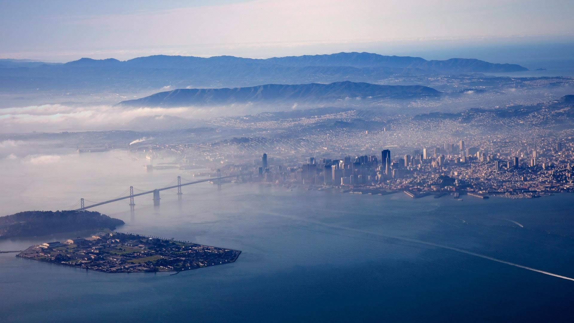california city bridge bay fog [1920x1080]