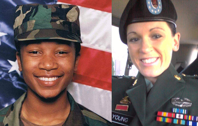Army veterans Ericka Carter and Loghan Young.
