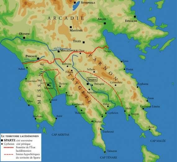 Αρχαία Σπάρτη, χάρτης