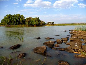 Beginning of the Blue Nile River by its outlet...