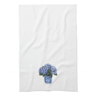 Blue Hydrangeas in a Floral Ceramic Pot Hand Towels