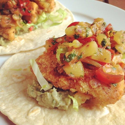 A taste of home cooking fish tacos with grilled pineapple for Flounder fish tacos