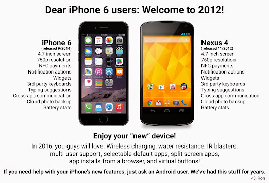 iPhone 6 'Welcome to 2012' Nexus 4 Comparison Image Goes Viral | Androidheadlines.com