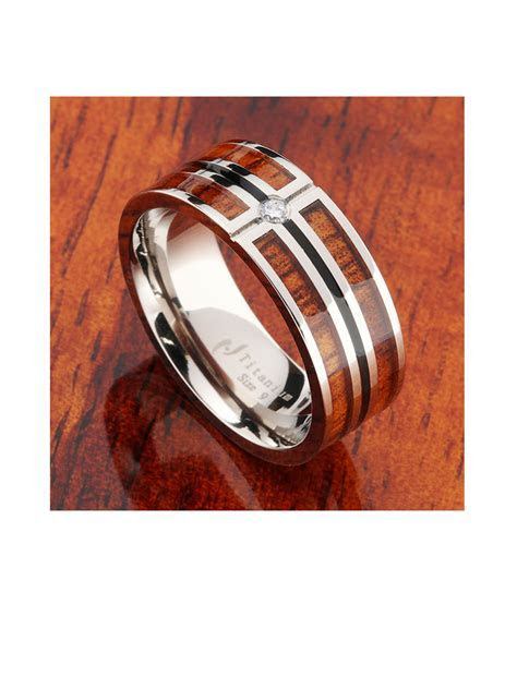 8mm Koa Wood Titanium Wedding Ring with CZ Inlay Mens Ring