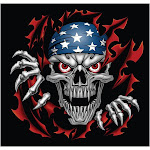 SKULL WITH FLAGGED CAP DECAL (GRP-105)