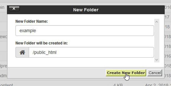 Create new folder in cPanel