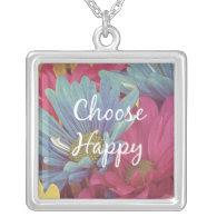 Motivational Choose Happy Affirmation Quote Necklaces