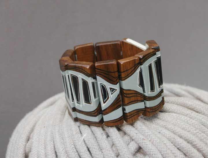 Wooden Bracelet Gray  Hand Painted Walnut Wood Bracelet Wearable Art  Geometric Bracelet Jewelry - NUTAK