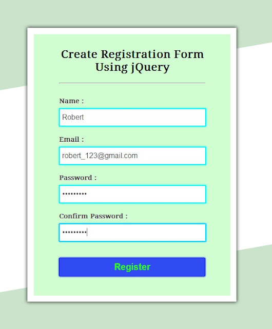 Create Simple Registration Form Using jQuery | FormGet