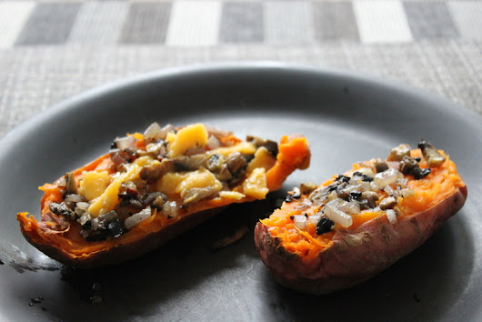 Microwave sweet potato with sautéed topping - Microwave Master Chef