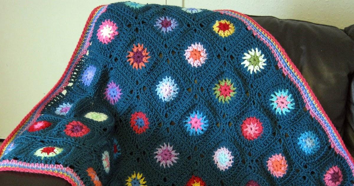 Starburst Flower Crochet Blanket Pattern : The Sunroom UK: Teal Starburst Retro Style Granny Square ...