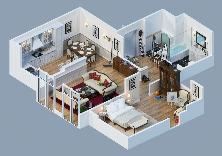 Apartment Designs Shown With Rendered 3D Floor Plans - 3d Room Design Free Deentight