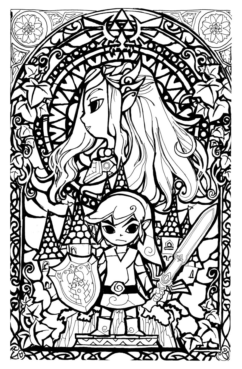 Link And Zelda Coloring Pages At Getdrawingscom Free For Personal