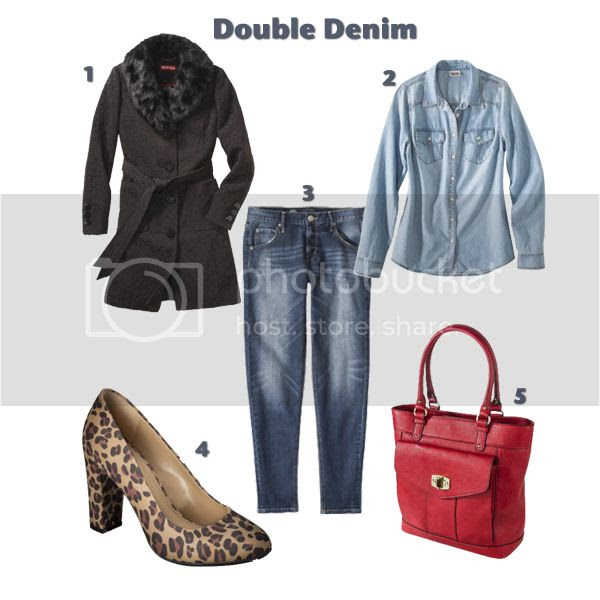 How to wear double denim, Target Style denim outfit with Merona Meg leopard print pumps