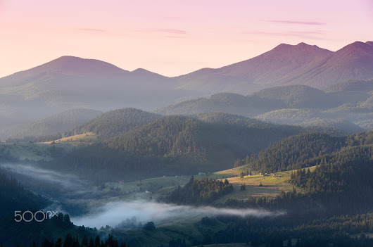 Dawn in the Carpathian Mountains