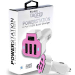PowerUp 4 USB Port Car Charger Adapter for iPhone Samsung and More Pink