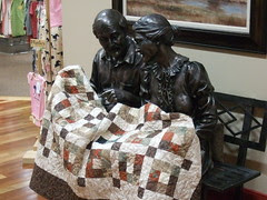 Statue with quilt