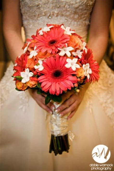 My wedding bouquet. Hot pink Gerbera Daisies and White