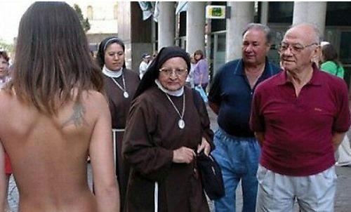 nun looking