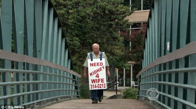 Loyal husband: Larry Swilling's devotion to his wife led him to walk the streets with a signboard asking for an organ donor