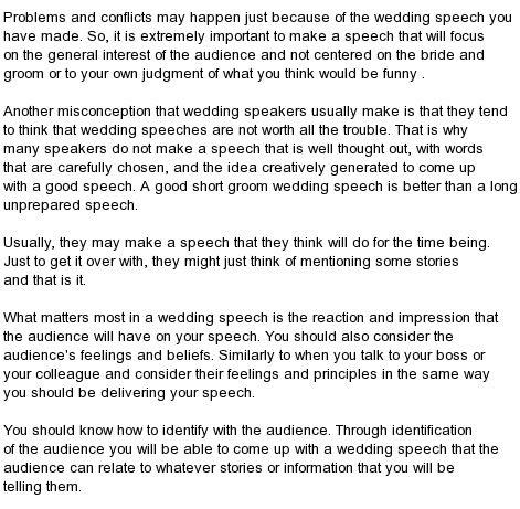 kind   wedding speeches great  man wedding