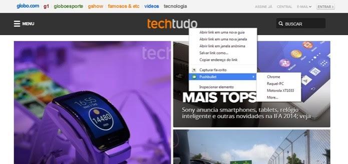 Links podem ser enviados com botão direito do mouse (Foto: Reprodução/Raquel Freire) (Foto: Links podem ser enviados com botão direito do mouse (Foto: Reprodução/Raquel Freire))