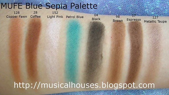 MUFE Blue Sepia Palette swatches