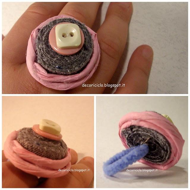 Collage anello cucitura, bottoni e manico carta
