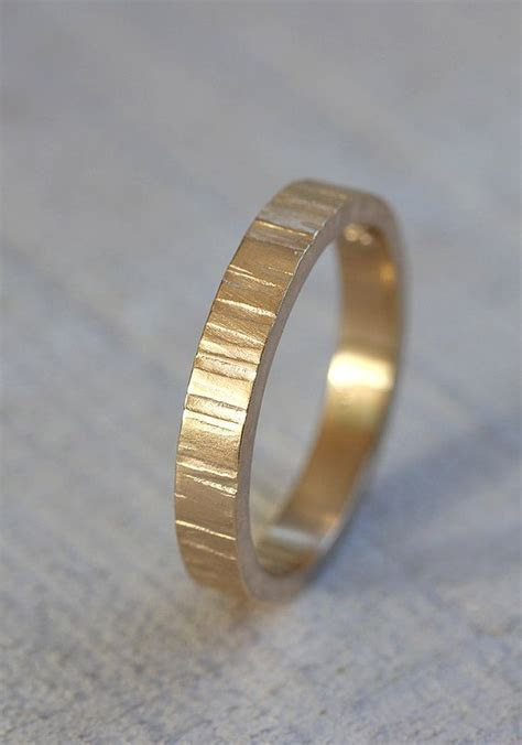 14k Yellow Gold Men's tree bark wedding band   Gifts for