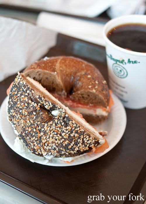 whole wheat everything bagel with lox and cream cheese at ess-a-bagel nyc new york usa jewish food bagels