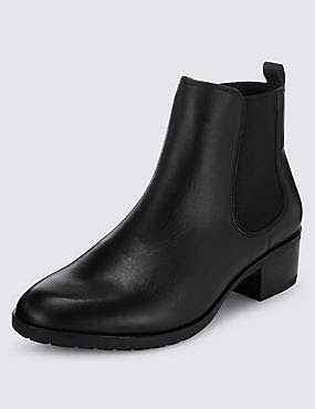 Leather Wide Fit Chelsea Ankle Boots