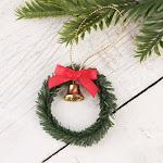 Miniature Christmas Wreath with Bell, 2'' diameter, Green, Craft Supplies