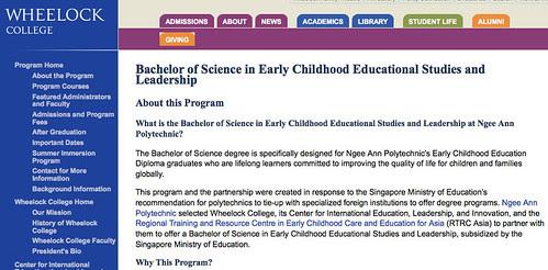Wheelock College, Early Childhood Educational Studies and Leadership