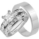 His and Hers Sterling Silver Wedding Ring Set Looks Real Not Cheap 12 / 7 / Silver
