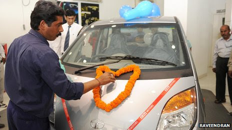 An Indian man gets his new car blessed before it is driven